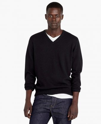 Black Cashmere V-neck Sweater
