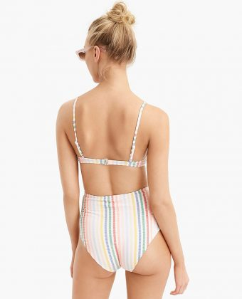 Bikini Top In Suckered Rainbow Stripe